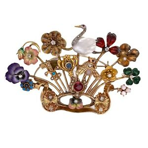 Diamond Gemstone Enamel 14 Karat Yellow Gold Vintage Stick Pin Bouquet Brooch