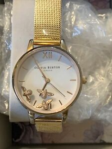 Hardly Used Olivia Burton Busy Bees Watch & New Gold Mesh Strap