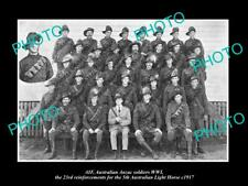 OLD POSTCARD SIZE PHOTO OF WWI AUSTRALIAN ANZAC 5th LIGHT HORSE 23rd R/I's 1917