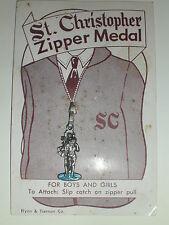 Vintage St. Christopher Zipper Medal On Original Card