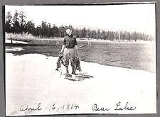 VINTAGE 1914 BIG BEAR LAKE LOS ANGELES CALIFORNIA CAMP HUGE FISH POLES OLD PHOTO