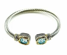 5CTW Cushion Cut Aqua AAA Cubic Zirconia Cable Two Tone Bangle Bracelet