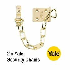 2 x YALE SECURITY DOOR CHAINS IN POLISHED BRASS FINISH - B-WS6-20-EB - NEW