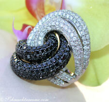 STATTLICHER GIGANT: Schwarze Diamanten Ring mit Brillanten 6,94 ct. WG750 13560€