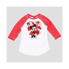 Girls' Minnie & Mickey Valentine's 3/4 Sleeve T-Shirt - Large (10/12)