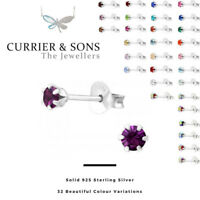 925 Sterling Silver Round Crystal Stud Earrings (3mm)