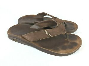 Chaco Brown Leather Flip Flop Thong Slide Sandals Shoes Men's Size 11