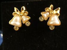 Vintage Avon New Old Stock Pearl Bells With Rhinestone Clappers Post Earrings