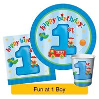 FUN AT ONE 1st Birthday Blue BOY Party Range - Tableware Balloons & Decorations