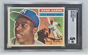 1956 Topps #31 Hank Aaron Grey Back Baseball Card SGC 5 F37