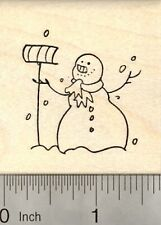 Snowman Rubber Stamp, with Snow Shovel E22913 WM