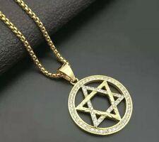 More details for star of david pendant necklace charm gold 316l silver unisex 50 cm  chain uk ltd