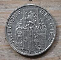 Belgium 5 Francs Coin~1938 Position B~KM#116.1~Nickel 9g~VFine~#1076