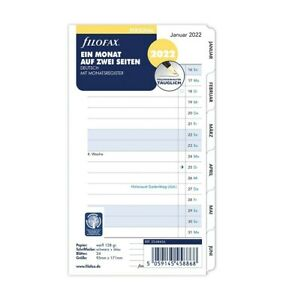 filofax Kalendereinlage 2022 PERSONAL 1 Monat / 2 Seiten Kalendarium 22-68456
