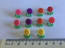 Small garden flower novelty buttons pink yellow purple orange Dress It Up 8985