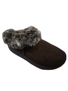 Sketchers Tone-ups Brown Suede Leather Fur Lined Slip-On Clog Mule Shoe Womens 9