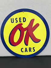 Chevrolet chevy OK used cars advertising sign oil gas round