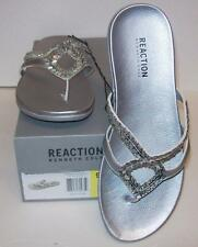 Kenneth Cole Reaction Jewel 2 Silver Beaded Flip Flops Sandals Size 9 NIB