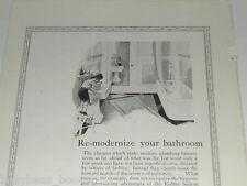 1924 Kohler Plumbing advertisement, modern pedestal sink, tub