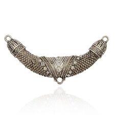 2pcs Antique Silver Alloy Crystal Rhinestone Links 1/2Loops Tube ALRI-J048-01AS
