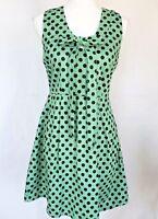 Anthropologie Green Black Polka Dot Dress XS