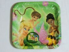 """~ TINKERBELL & FAIRIES ~ 8- LARGE LUNCH PLATES 9 1/4"""" SQUARE-2 DESIGNS - PARTY"""