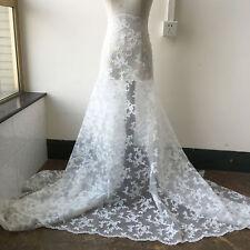 Ivoire Câblé Broderie Robe de Mariée Tissu Floral Mariage Diy Tissu Dentelle 0.5