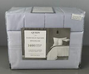 Fairfield Square Brookline Queen 1400 Thread Count 6 pc Sheet Set Blue [GS A]