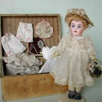 """Bisque doll Kestner with BOX Antique Mignonette Head mark """"K 18"""" Blue fixed eyes"""