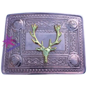 CC Men's Kilt Belt Buckle Stag Head Copper Antique Finish/Kilt Belt Buckles