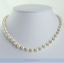 "Genuine 17"" AAA 7mm Freshwater White Pearl Necklace 