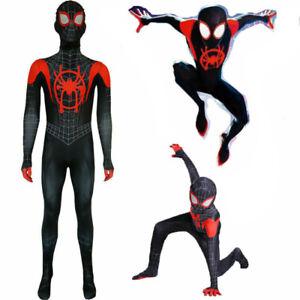 Spider Man Into the SuperHero Costume Kids Miles Morales Cosplay Fancy Suit UK