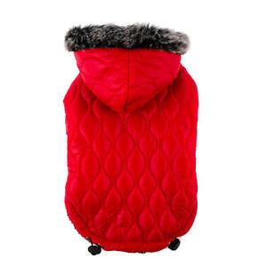 Top Paw Hooded Red Puffer Coat Faux Fur Trim Fleece Lining Hook/Loop Closures