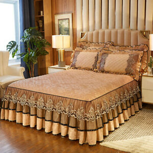 Lace Velvet Bedspread Set Queen King Bed Skirt Qulited Fitted Sheet Pillow Cases