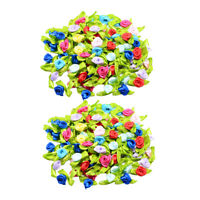 200pcs Satin Tiny Rose Bud Ribbon Decor Flowers Sewing Applique DIY Hairband