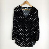 Old Navy Womens Size Medium Black & White Long Sleeve The Tunic Shirt Blouse