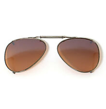 New Mens 57mm Clip On Sunglasses Amber driving lens aviator tear-drop sunglasses