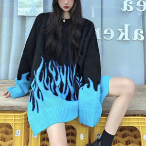 Frauen Pullover Langarm Flamme Pullover Oversized Casual Strickpullover Top `d