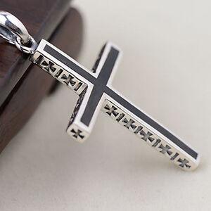 Genuine Solid 925 Sterling Thai Silver Pendant Cross Black Men's Women's