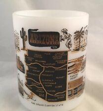 Federal Glass ARIZONA Mug Black Gold White State Souvenir Milk