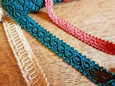 LOT of 3 VINTAGE French Old Shop Stock Similar Braid Trim GOLD GREEN CORAL Color