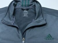 Men's Adidas 1/4 Zip Pullover Long Sleeve Jacket Charcoal Gray Size 2XL