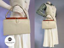 Vintage 1960s Cream and Tortoise Shell Boxy Top Handle Handbag Hand Bag Purse