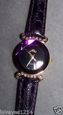 QVC Alto Purple crystal style Face Gold tone Purple Leather cz dress watch