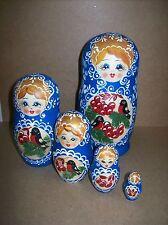 Peasant Girl Nesting Doll w/Birds & Berries (#75) - 5 Doll Russian Nesting Doll