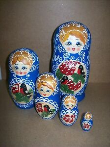 Peasant Girl Nesting Doll w/Birds & Berries (#75) - 5 Doll Russian Nesting Doll