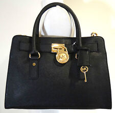 MICHAEL MICHAEL KORS HAMILTON BLACK SAFFIANO LEATHER EAST WEST SATCHEL BAG
