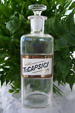 "Glass Label Apothecary Bottle~1800's~TR.CAPSICI~Tincture of Capsicum~8.25"" Tall"
