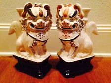 Vtg/Antique? Pair Beautiful Hand Pressed Clay Asian Foo Dog Lion Incense $300