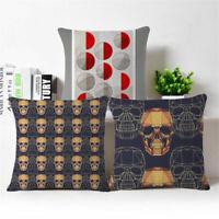 "18"" Skull Geometry Cotton Linen Pillow Case Sofa Throw Cushion Cover Home Decor"